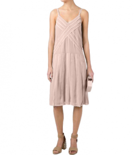 REDValentino Georgette Pink Lace Trimmed Dress