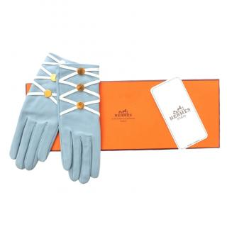 Hermes Pale Blue Lace-Up Leather Gloves