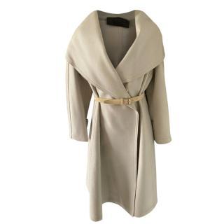 Donna Karan Grey Wool Belted Coat