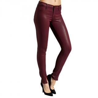 J Brand Burgundy Coated Mid-Rise Skinny Jeans