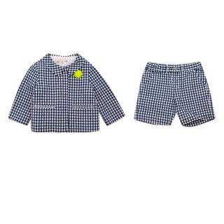 Bonpoint Blue & White Gingham Kids Jacket & Shorts