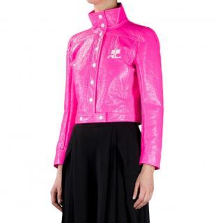 Courreges neon vinyl short jacket
