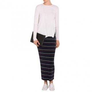 T by Alexander Wang Multi-coloured Striped Knit Maxi Skirt