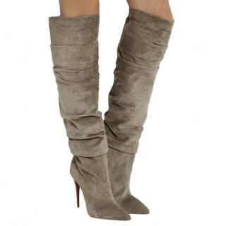 Christian Louboutin Ishtar Botta 100 ruched suede knee boots