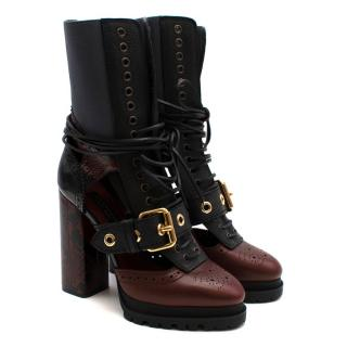 Burberry Burgundy & Black Lace-up Leather Heeled Boots