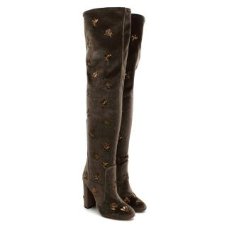 Aquazzura Taupe Velvet Gold Embroidered Thigh High Boots