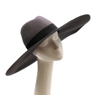 Saint Laurent Grey Rabbit Felt Floppy Fedora Hat