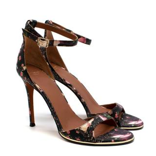 Givenchy Black Floral Leather Heeled Sandals