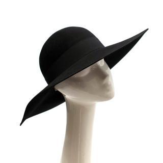 Saint Laurent Black Feather and Grosgrain-trimmed Hat