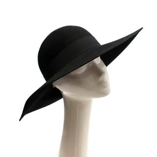 Saint Laurent Black Feather and Grosgrain-trimmed Hat