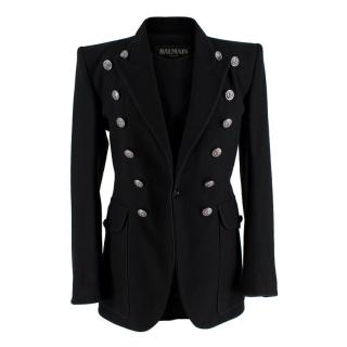Balmain Black Cotton Twill Double Buttoned Military Blazer