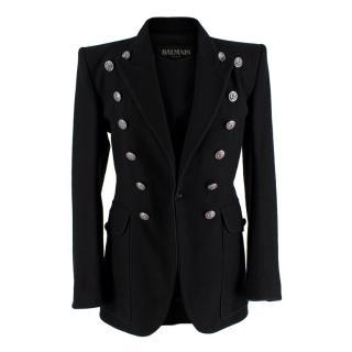 Balmain Black Cotton Twill Double Buttoned Military Blazer
