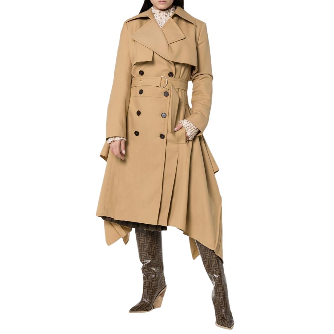 Chloe Garbadine Trench Coat with Asymmetric Hem