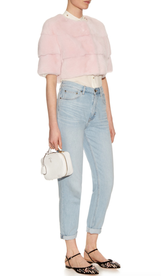 Lilly E Violetta Rosewater Sarah Mink-Fur Cropped Jacket