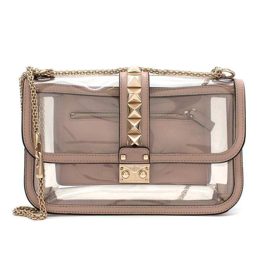 Valentino Nude Leather PVC Glam Lock Naked Rockstud Shoulder Bag