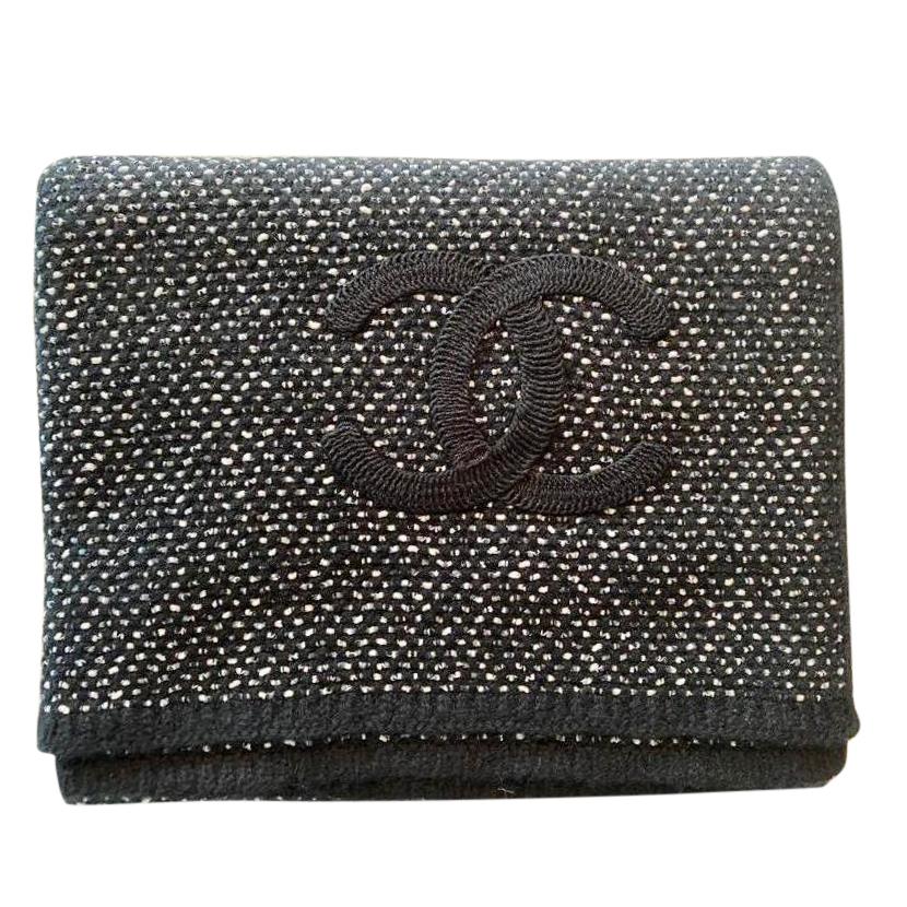 Chanel Black Lurex Knit CC Cashmere Blend Stole