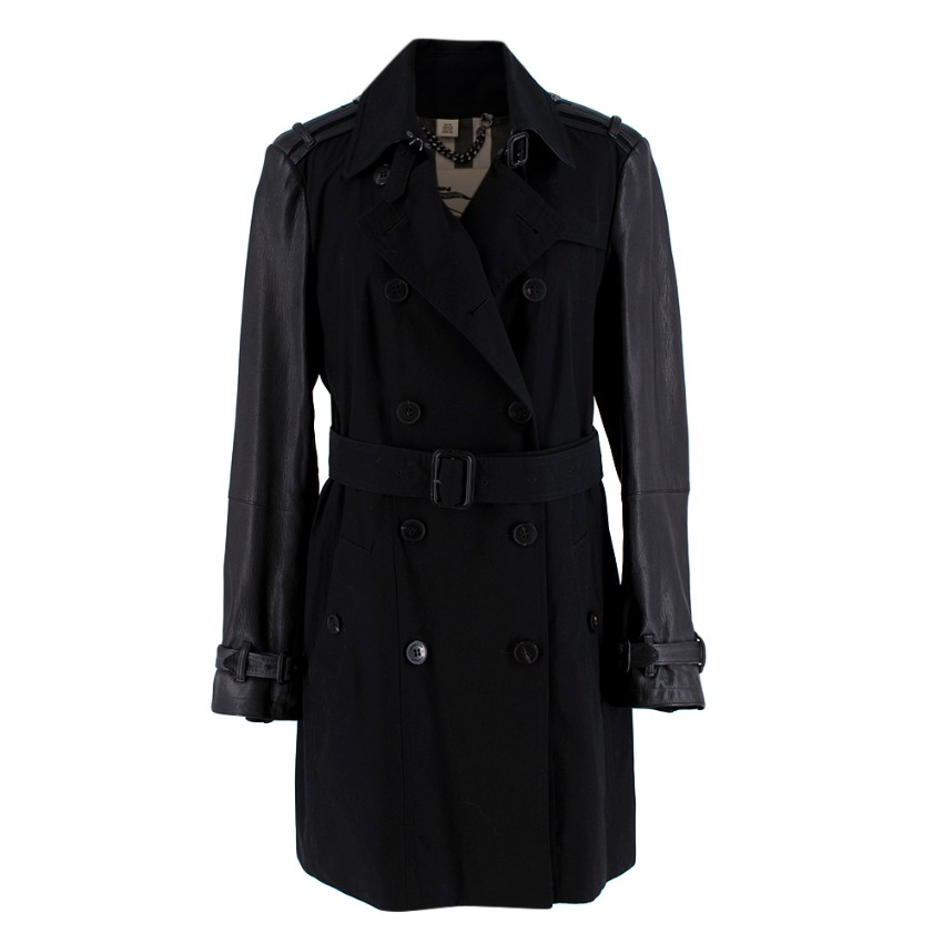 Burberry Black Trench Coat with Leather Detail