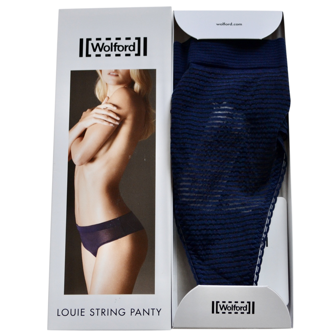 Wolford Navy Striped Thong