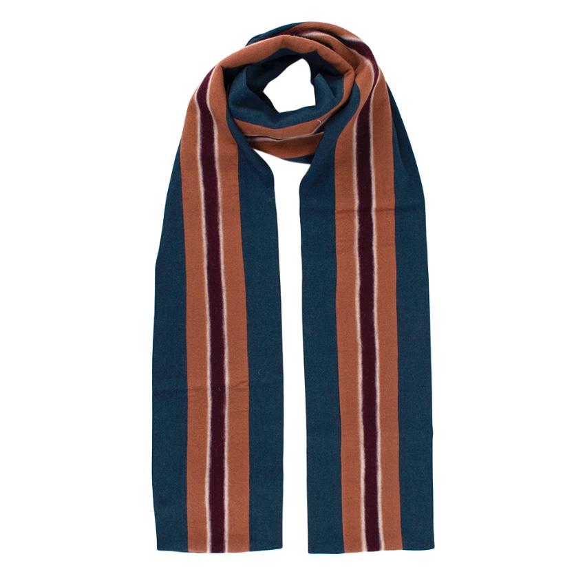Hilfiger Collection Blue Striped Wool blend Scarf