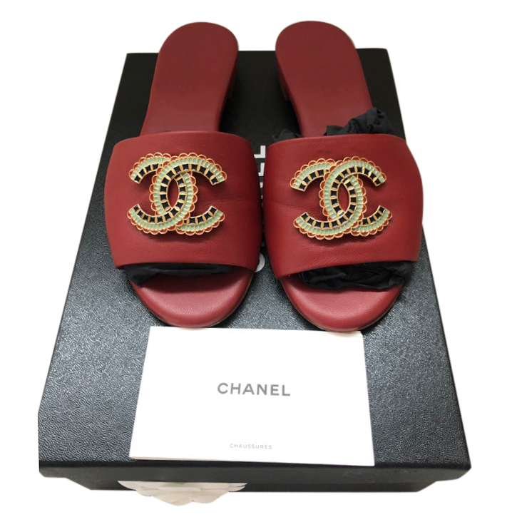 Chanel Red Leather Enamel Cc Mules | HEWI