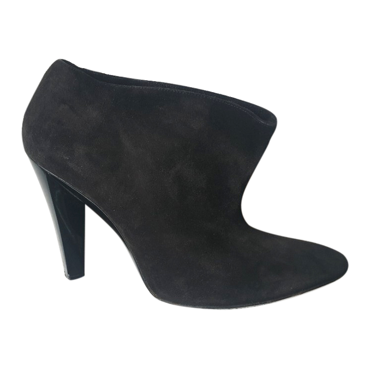 Balenciaga Black Suede Cone Heel Ankle