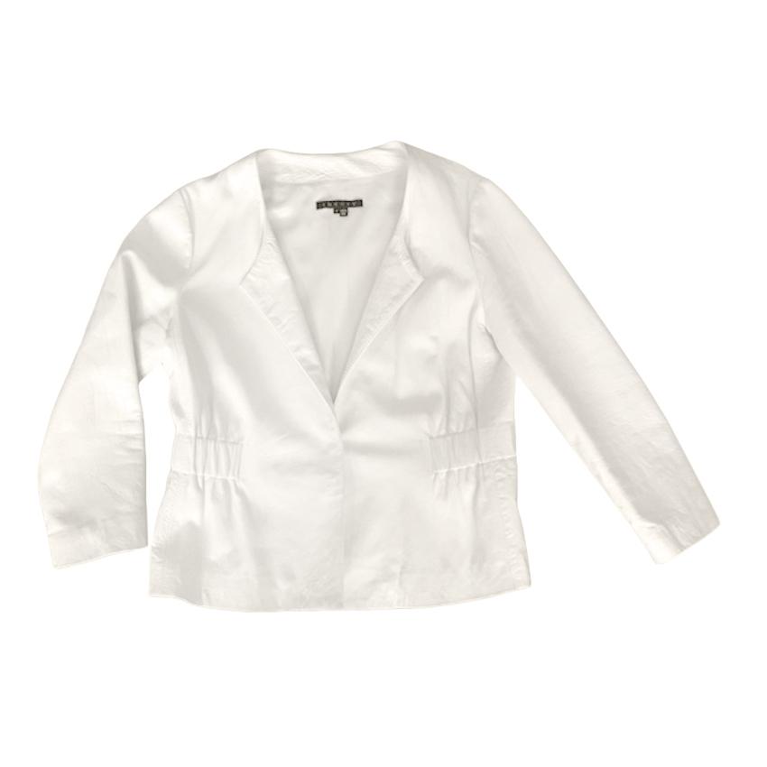 Theory Ivory Leather Lidia Jacket