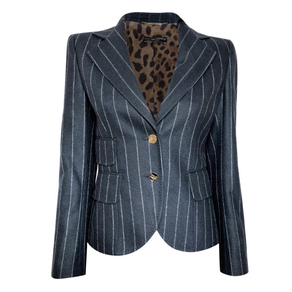 Dolce & Gabbana Blue Pinstripe Tailored Jacket