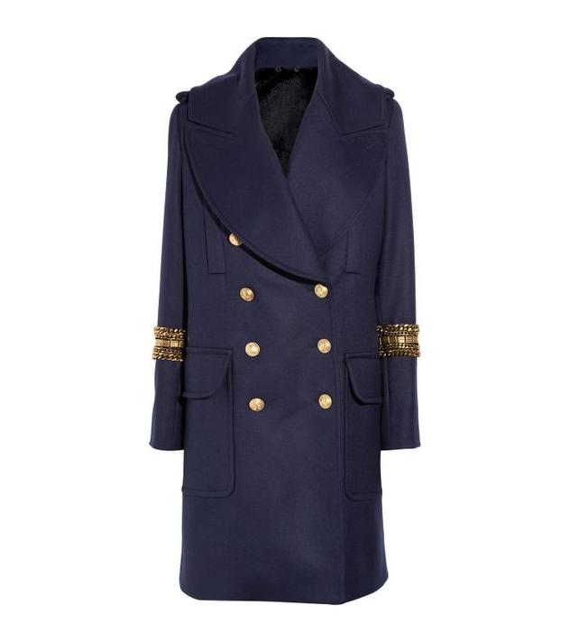 Alexander McQueen Navy Rabbit-lined wool coat