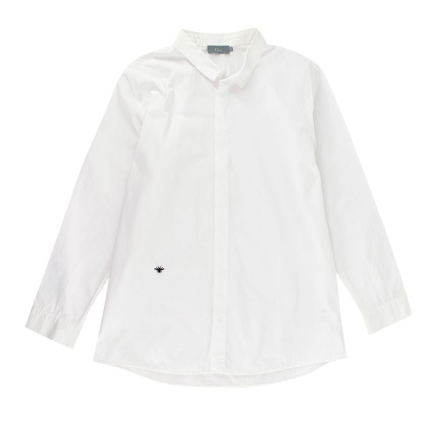 Dior White Bee Embroidered Cotton Long Sleeve Shirt