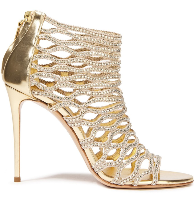 Casadei Crystal Embellished Cut-Out Caged Leather Sandals