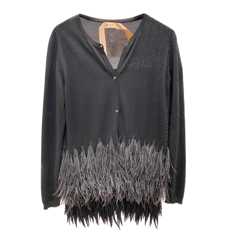 No.21 Black Feather Trimmed Cardigan
