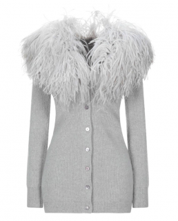Blumarine Grey Ostrich Feather Trim Wool Cardigan