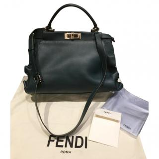 Fendi Bottle Green Ruffled Peekaboo Bag