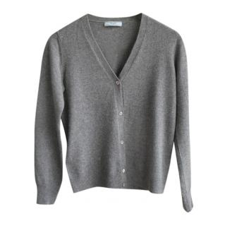 Prada Grey Cashmere V-Neck Cardigan