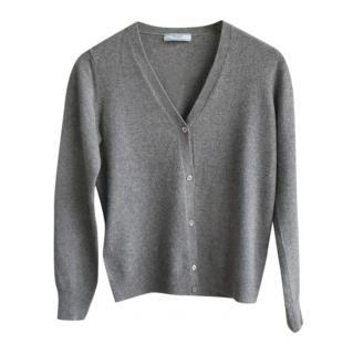 Prada Grey Cashmere V-Neck Cardigan