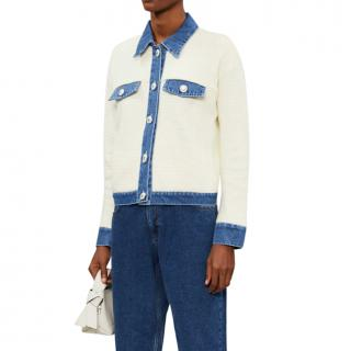 Sandro Blue & White Nino Knit Jacket