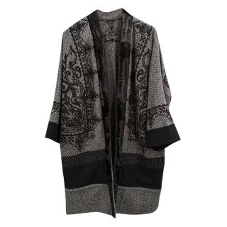 Etro Grey Jacquard Fur Trim Wrap Jacket