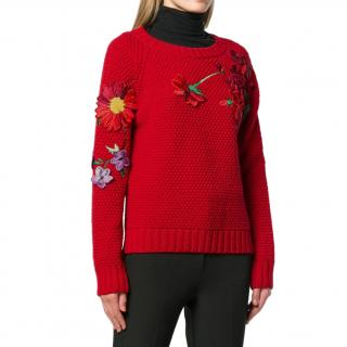 Blumarine Red Wool Embroidered Knit Jumper