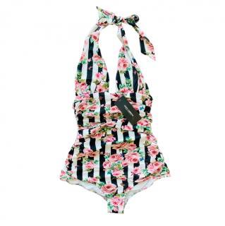 Dolce & Gabbana Striped Rose Print Halterneck Swimsuit