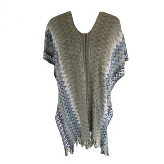 M Missoni Grey/Blue Zig-Zag Knit Poncho