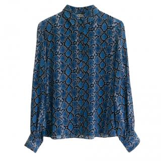 Rockins Blue Python Print Silk Shirt