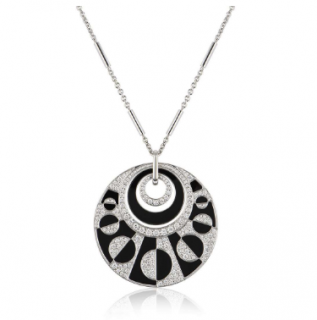 Bvlgari White Gold Diamond Pendant Necklace with Onyx