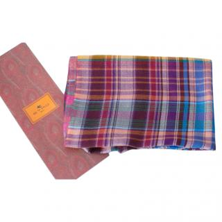 Etro Cashmere & Wool Check Shawl