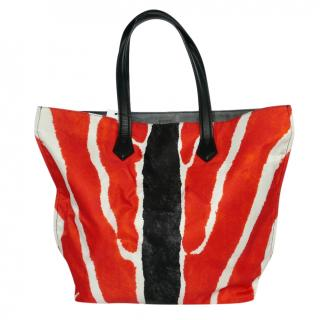 Fendi Zebra Print Nylon All In Tote Bag