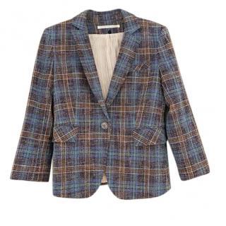 Veronica Beard Blue Check Tailored Jacket