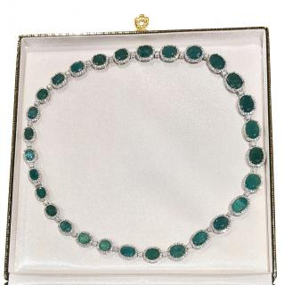 Bespoke Platinum & Yellow Gold Fine Natural Emerald Necklace