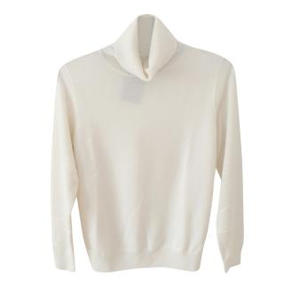 N.Peal Ivory Cashmere Roll Neck Jumper