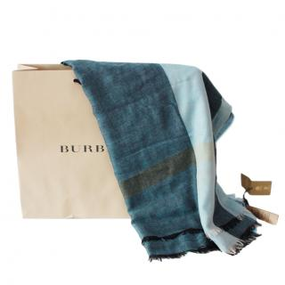 Burberry Blue Plaid Wool Scarf