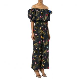 Fendi Silk Printed Multi-coloured Off-Shoulder Jumpsuit