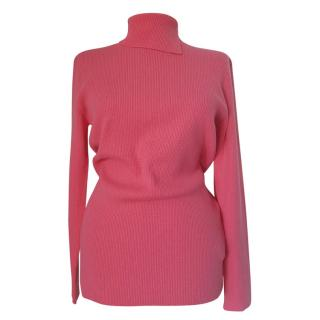 Max Mara Pink Ribbed Knit Wool Jumper